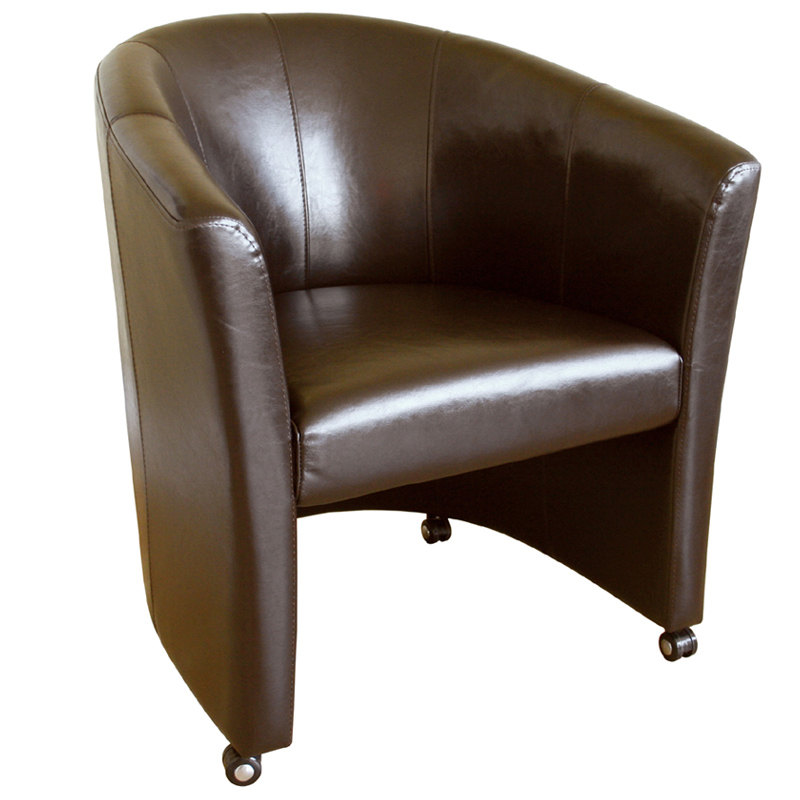 Wholesale interiors faux leather club chair with wheels for Cheap leather chairs
